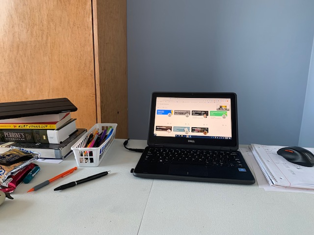A students desk during online learning