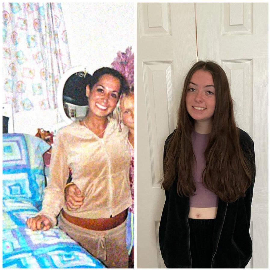 Junior Gianna Jaronik (right) rocks tracksuit as her mother, Amanda Jaronik (left) did in 2003.